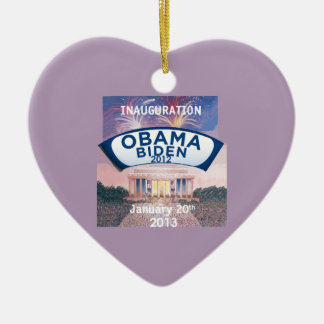 Inaugural 2013 Double-Sided heart ceramic christmas ornament
