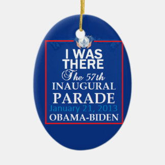 Inaugural 2013 Double-Sided oval ceramic christmas ornament