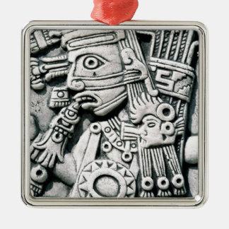 Inca antiguo adorno cuadrado plateado