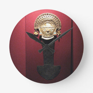 Inca gold ceremonial knife (Tumi),  Lima, Peru Round Clock