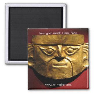 Inca gold mask, Lima, Peru 2 Inch Square Magnet