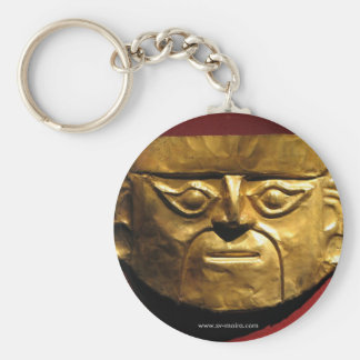Inca gold mask, Lima, Peru Basic Round Button Keychain