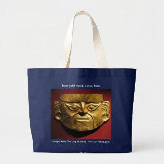 Inca gold mask, Lima, Peru Large Tote Bag