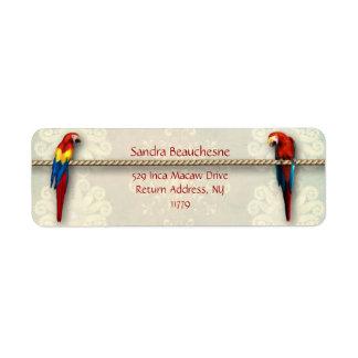 Inca Macaws - Cream Lace Return Address Label