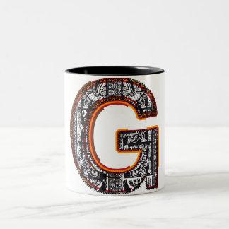 Inca`s font, Letter G Two-Tone Coffee Mug