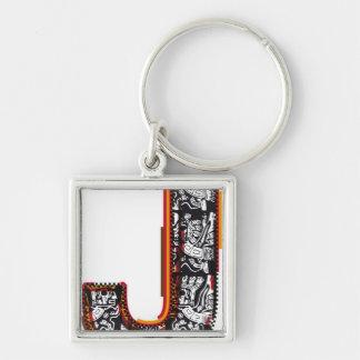 Inca`s font, Letter J Keychain