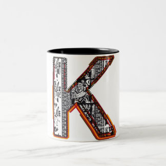 Inca`s font, Letter K Two-Tone Coffee Mug