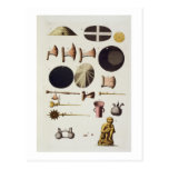 Inca tools and artefacts, Peru, from 'Le Costume A Postcard