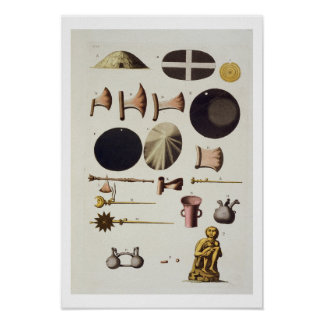 Inca tools and artefacts, Peru, from 'Le Costume A Poster