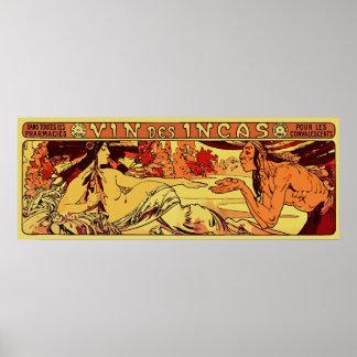 Inca wine Alphonse Mucha remake horizontal Print