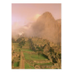 Incan ruins at the base of Machu Picchu in the Postcard