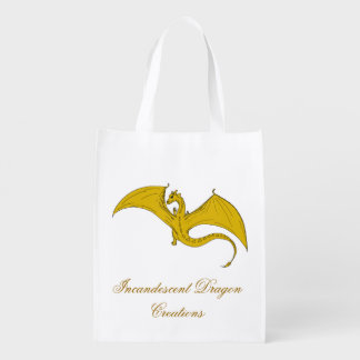 Incandescent Dragon Creations Gold dragon bag 2 Reusable Grocery Bags