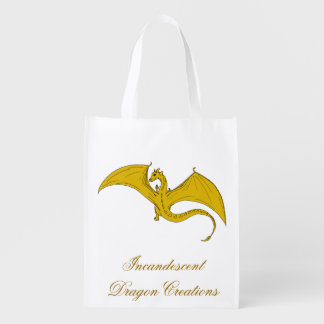 Incandescent Dragon Creations Gold dragon bag Grocery Bag