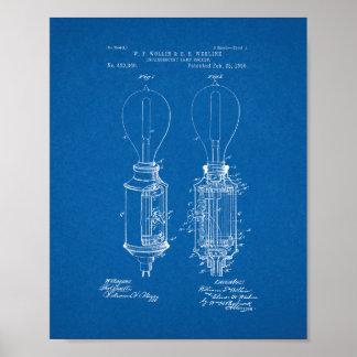 Incandescent Lamp Socket Patent - Blueprint Poster