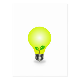 Incandescent lamp with baby seedling postcard