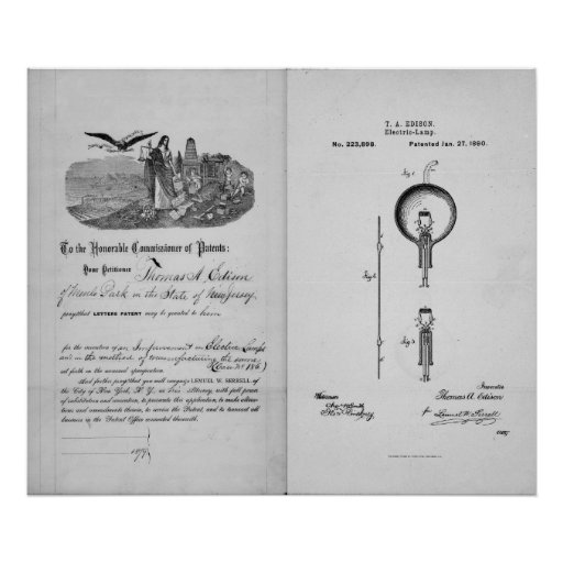 Incandescent Light Bulb by Thomas Edison Patent Poster