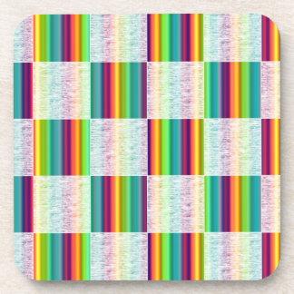 Incandescent Rainbow Plaid (Large) Coasters