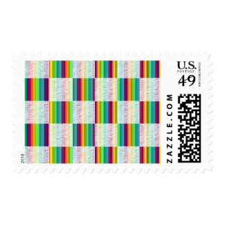 Incandescent Rainbow Plaid (Large) Postage Stamps