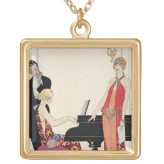 Incantation, illustration for 'Gazette du Bon Ton' Gold Plated Necklace