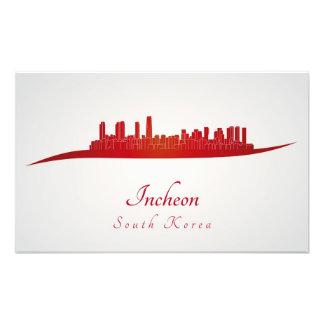 Incheon skyline in red fotografía