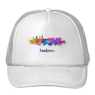 Incheon skyline in watercolor trucker hat