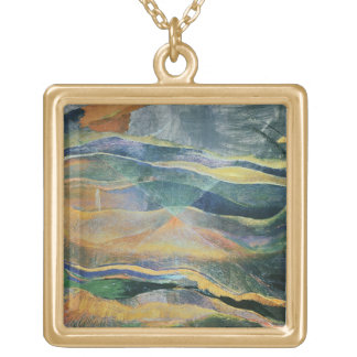 Incidents of Colours and Plains (tempera and penci Square Pendant Necklace