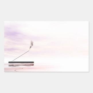 Incienso rosado pegatina rectangular