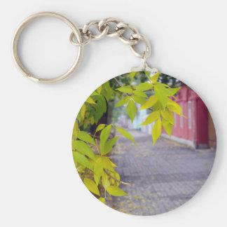 Incinere las ramas con las hojas y las tejas llavero redondo tipo pin