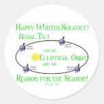 Inclinación axial del solsticio de invierno pegatinas redondas