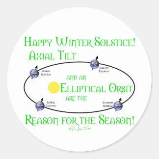 Inclinación axial del solsticio de invierno pegatina redonda