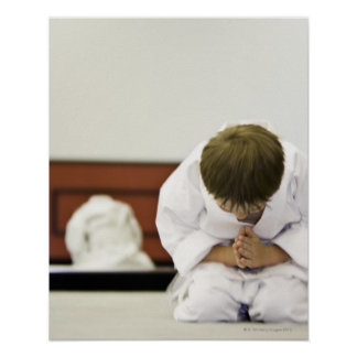 Inclinación del equipo del karate del muchacho que posters