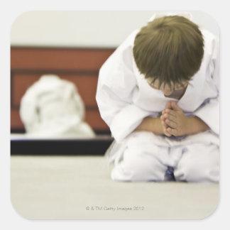 Inclinación del equipo del karate del muchacho que pegatina cuadrada