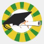 Inclinación w/Diploma del casquillo de la graduaci Pegatinas Redondas