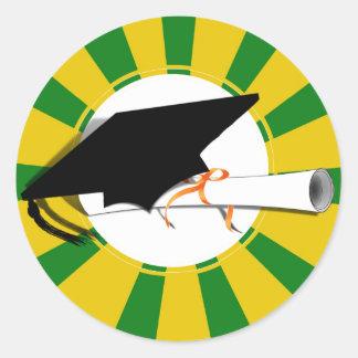 Inclinación w/Diploma del casquillo de la Pegatinas Redondas