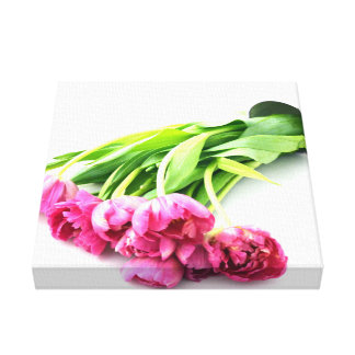 Inclinado sobre tulipanes lienzo envuelto para galerías