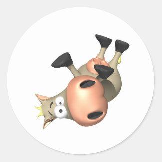 Inclinado sobre vaca etiquetas redondas