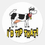 Inclinaría esa vaca etiquetas redondas