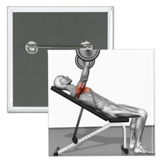 Incline Bench Press 3 Pinback Button