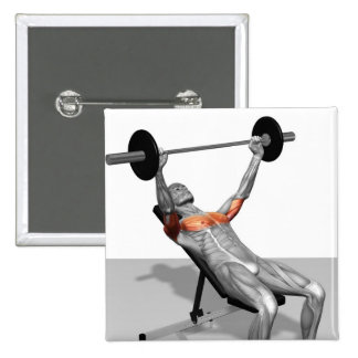 Incline Bench Press Pinback Button