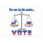 Incline el voto de las escalas postales