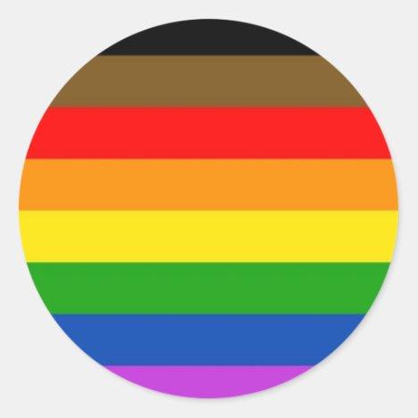 Inclusive LGBT Pride Flag Classic Round Sticker
