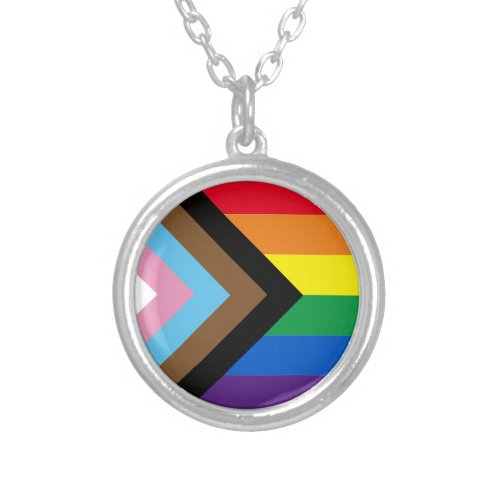 Inclusive rainbow Lgbtq gay diversity flag Silver Plated Necklace