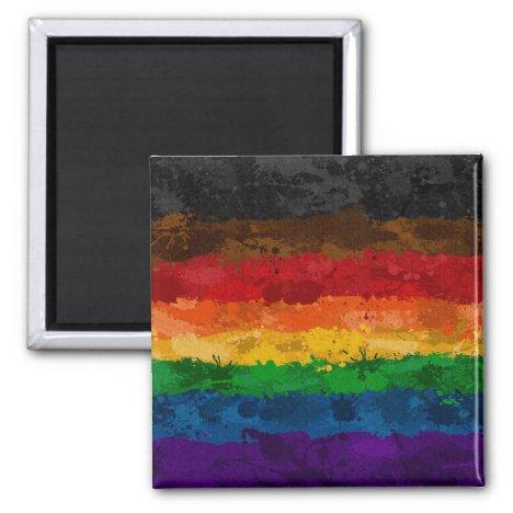 Inclusive Rainbow Paint Splatter Flag Magnet