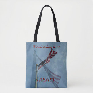 "Inclusive 'We all Belong Here"" Patriotic Flag Tote Bag"
