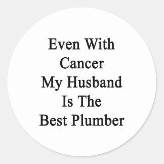 Incluso con el cáncer mi marido es el mejor etiqueta redonda