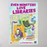 """Incluso los monstruos aman bibliotecas 13"""" x 19"""" p poster"""