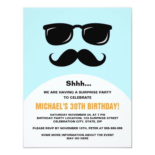 """Incognito blue and orange surprise party invite 4.25"""" x 5.5"""" invitation card"""