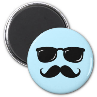Incognito blue magnet with mustache and sunglasses