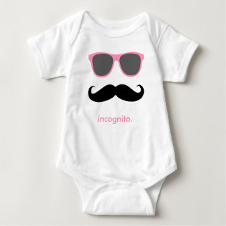 incognito - funny mustache and pink shades t shirt