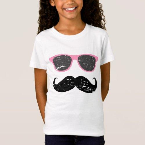 Incognito girl _ funny mustache and sunglasses T_Shirt